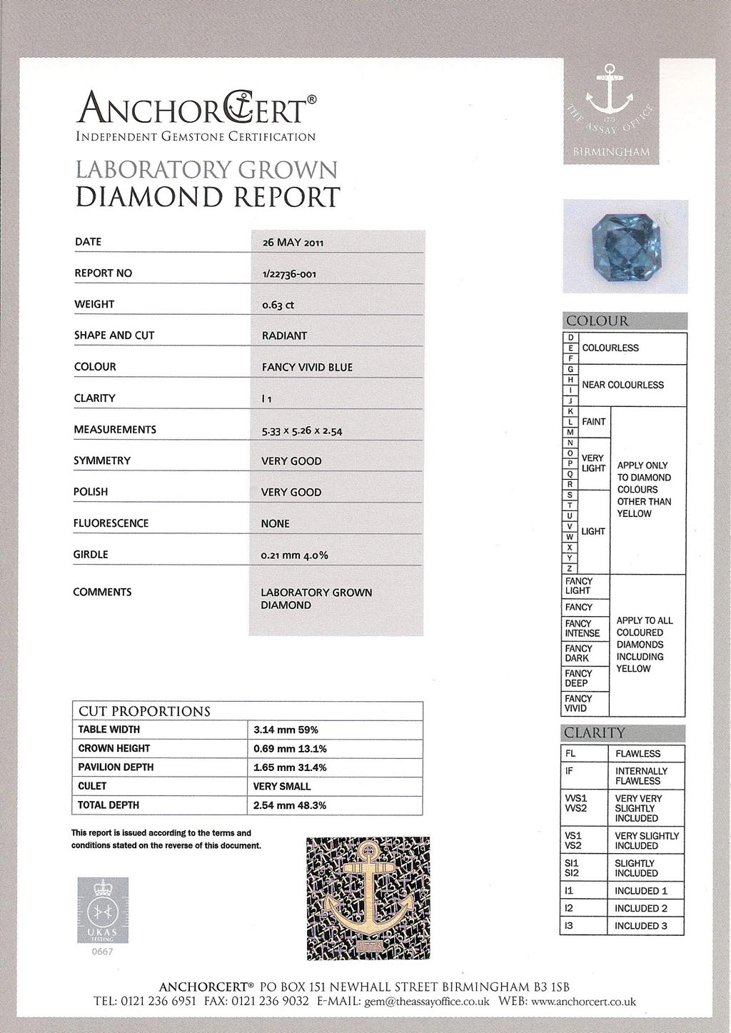Heart In Diamond Certificate -- AnchorCert