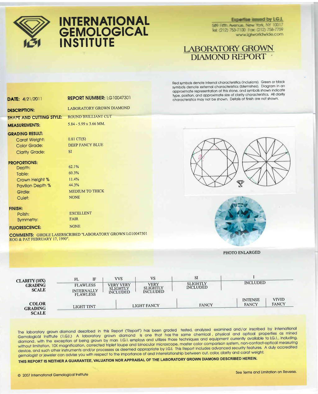 Heart In Diamond Certificate -- International Gemological Institute
