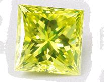 Princess cut square green diamond, sparkling and bright