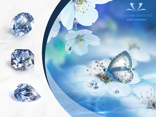 3 Types of blue memorial diamonds, white flowers and a butterfly on a blue background