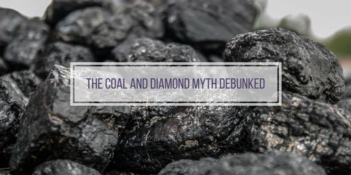coal with text 'the coal and diamond myth debunked'