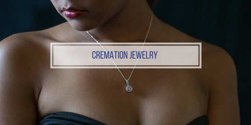 woman wearing a cremation jewelry necklace