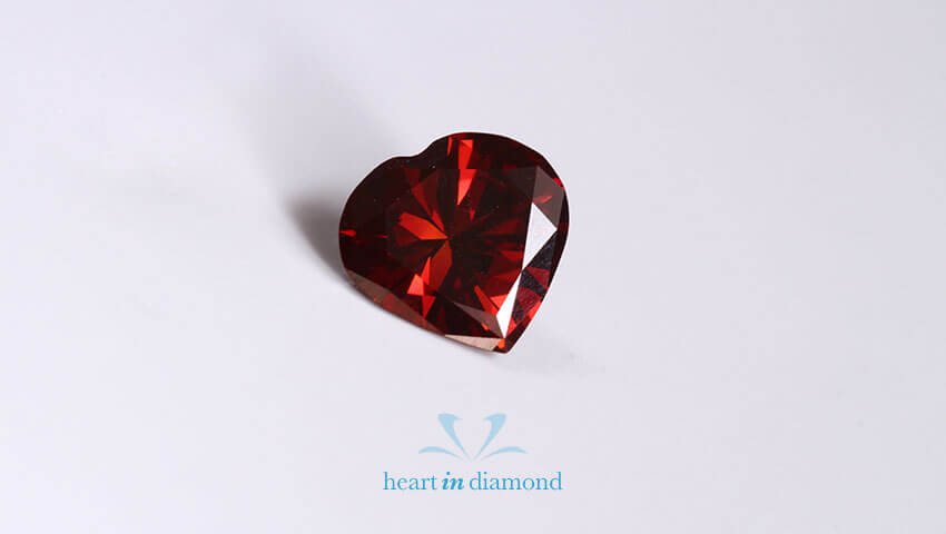 Red cremation diamond made from pet's ashes