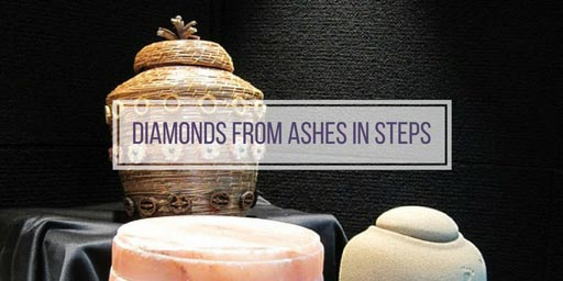 image of urns with the text 'how to make diamonds from ashes'