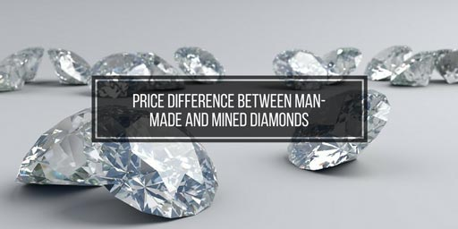 shiny diamonds with text 'price difference man-made and mined diamonds'