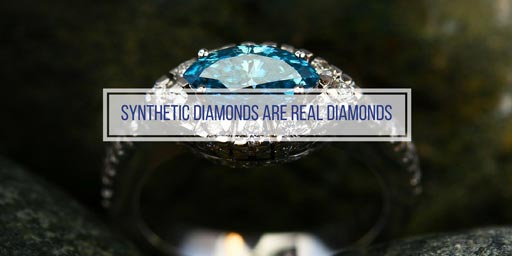 synthetic diamond with text 'synthetic diamonds are real diamonds'