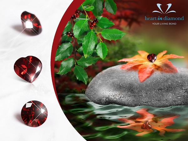 3 Types of red diamonds, red flower on a stone in red water.