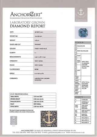 Scan of an example report for cremation diamonds as provided by anchor cert