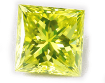 Princess cut square green diamond, sparkling and bright